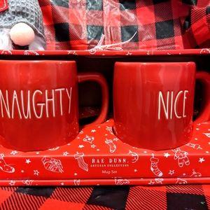 SOLD Rae Dunn Christmas Naughty and Nice Mug Set